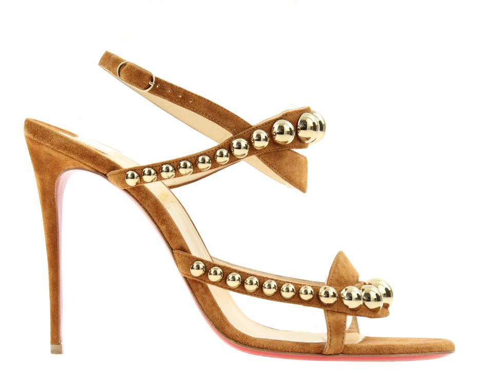 c636ff0e1d8c Christian Louboutin Brown Cannelle Galeria 100mm Suede Sandals Size ...