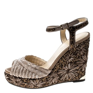 Jimmy Choo Embroidered Glitter Brown Sandals