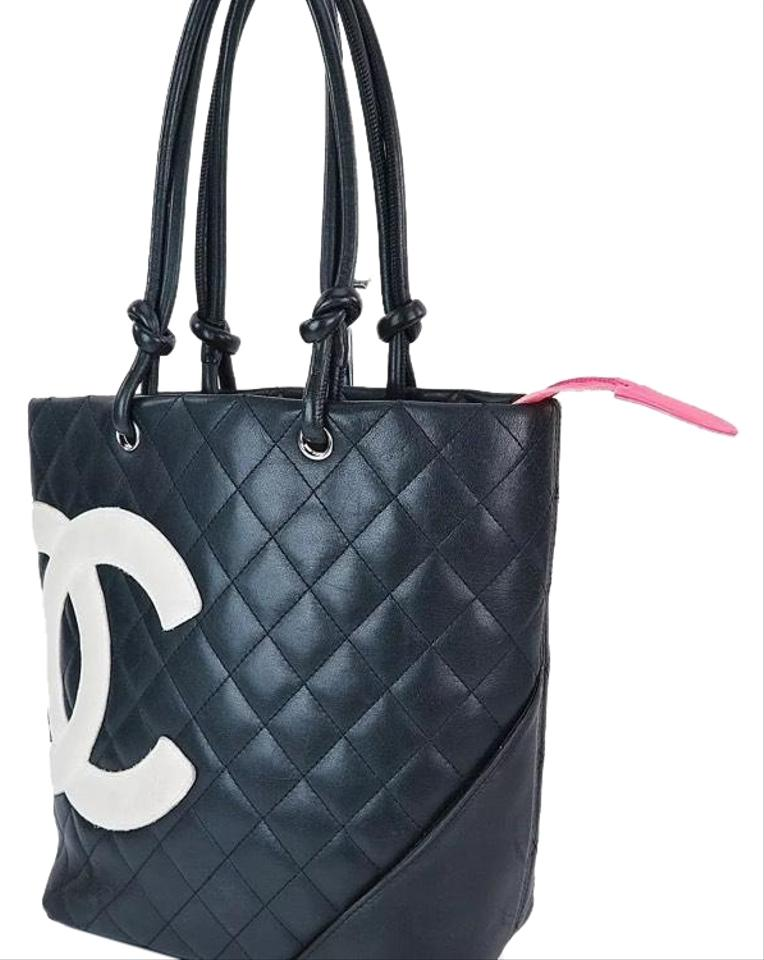 db82f8ecce1 Chanel Cambon Cc Quilted Black   White Purse Tote - Tradesy