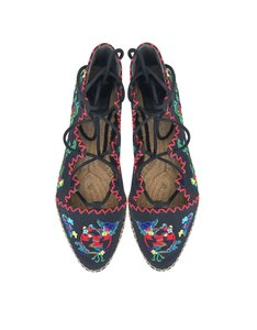 Tory Burch Embroidered Espadrille Ankle Lace Navy Flats