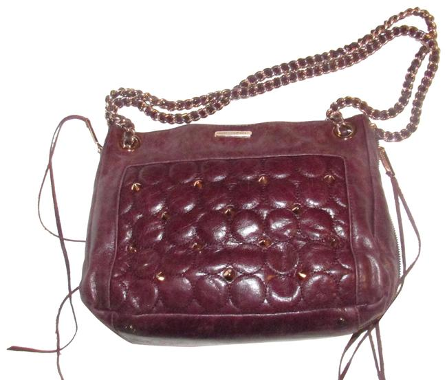 Item - Two-way Style Shoulder Or Cross Body Purses Deep Plum Leather with Gold Studs and A Gold Chain Strap Satchel