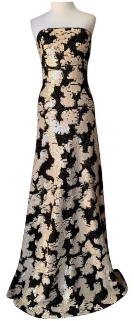 Item - Black/Cream Sequins Strapless Gown Long Formal Dress Size 6 (S)