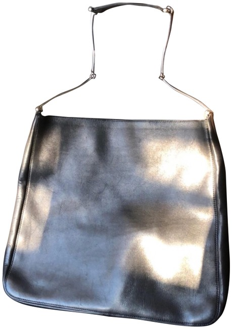 Item - With Accents and Attached Coin Purse Black Leather Chrome Tote