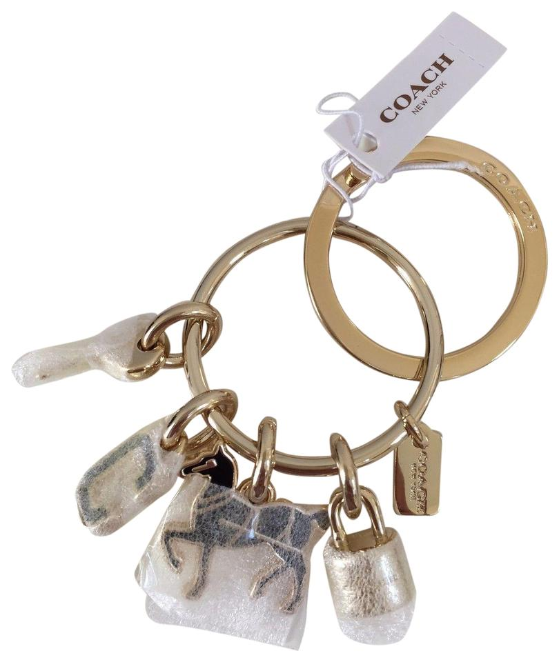 Coach Gold Black Iconic Key Fob Ring Chain Horse - Tradesy 9399a98de