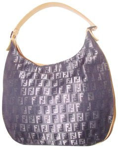 Fendi Mint Condition Shoulder Zucchino/Small Canvas/Leather Unusual Style Hobo Bag