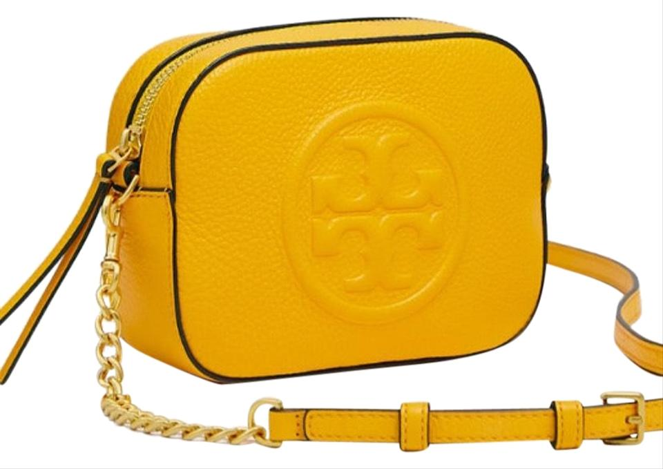 6904bea0311 Tory Burch Bombe Limited Edition Mustard/Blackt Pebbled Leather Cross Body  Bag