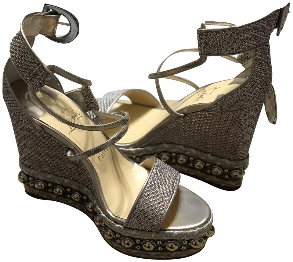 d83cfbe824f Christian Louboutin Gold Chocazeppa Wedges Size EU 38 (Approx. US 8 ...