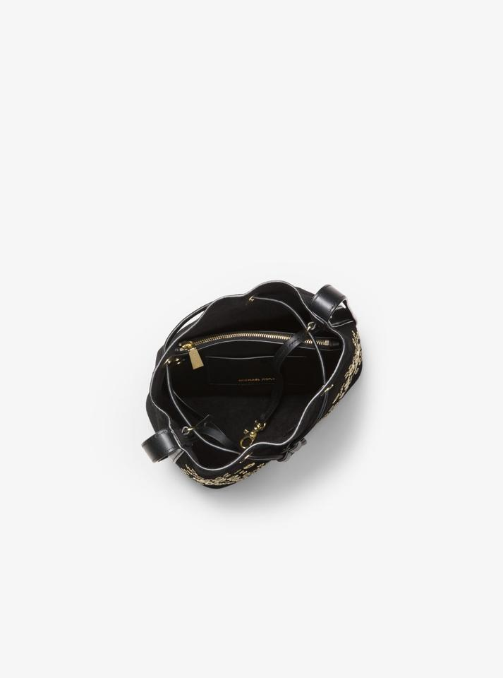 406599955e Michael Kors Cary Small Grommeted Bucket Black Suede Cross Body Bag ...