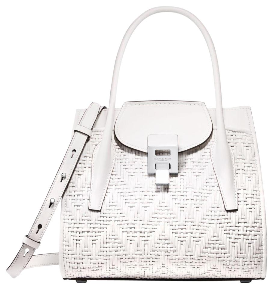 e2153829c414be Michael Kors Leather 31s8pbnt3e Satchel in Optic White Image 0 ...