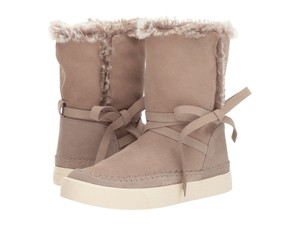 ae5cacb574e TOMS Waterproof Water-resistant Suede Tie Faux Fur Beige Boots