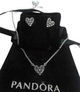 bf51da5a1 PANDORA Sterling Silver 3 Piece Signature Heart Earring Set Necklace ...