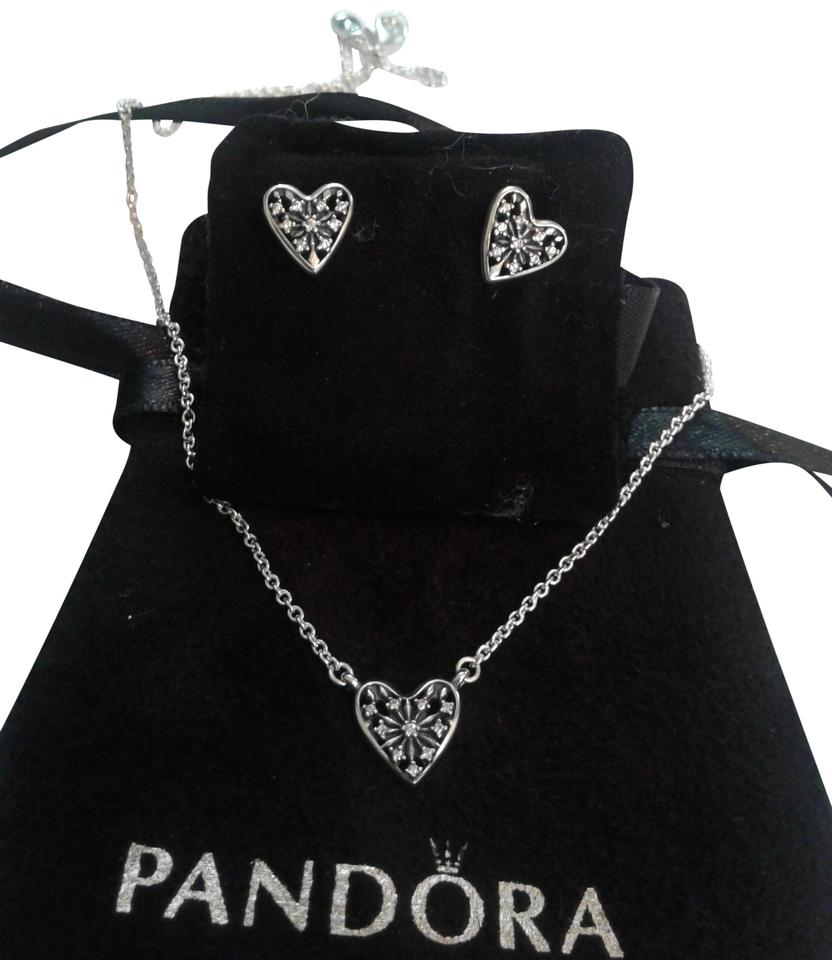 pandora earrings and necklace set