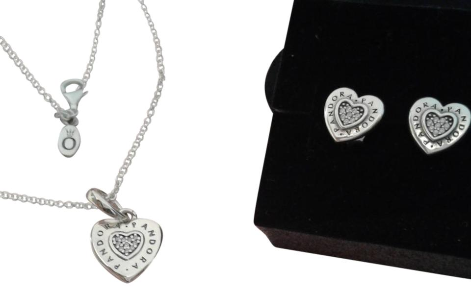 0445bbb25242c PANDORA Sterling Silver 3 Piece Signature Heart Earring Set Necklace 54%  off retail