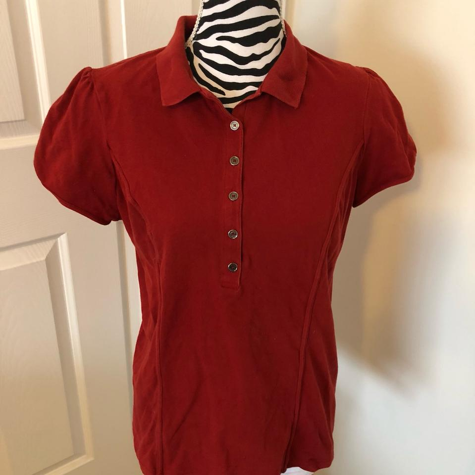 357477cc4 Burberry Brit Reddish-orange Polo Blouse Size 14 (L) - Tradesy