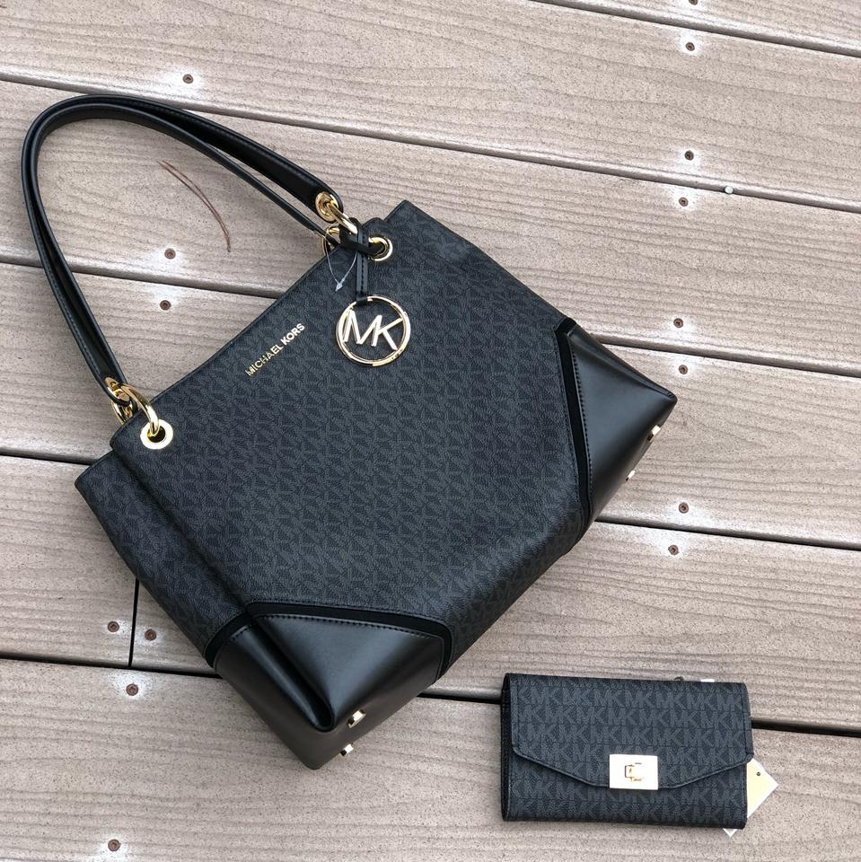 3ea11ef2d8a033 Michael Kors 2pcs Signature Nicole Handbag&wallet Morning Black Pvc/Leather Shoulder  Bag - Tradesy