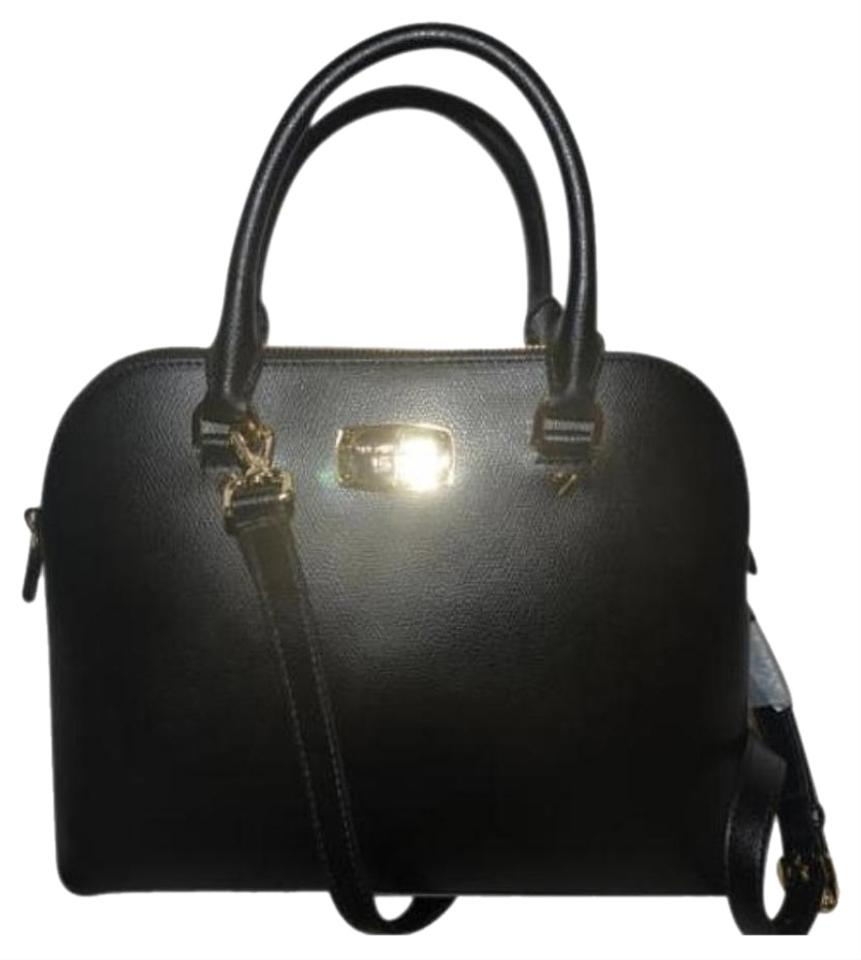 e10c115ad58e Michael Kors Cindy Large Dome Crossbody Black Leather Satchel - Tradesy