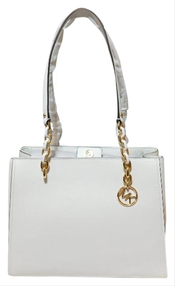 d18bbaac875446 Michael Kors Sofia Susannah Large Vanilla White Saffiano Leather ...