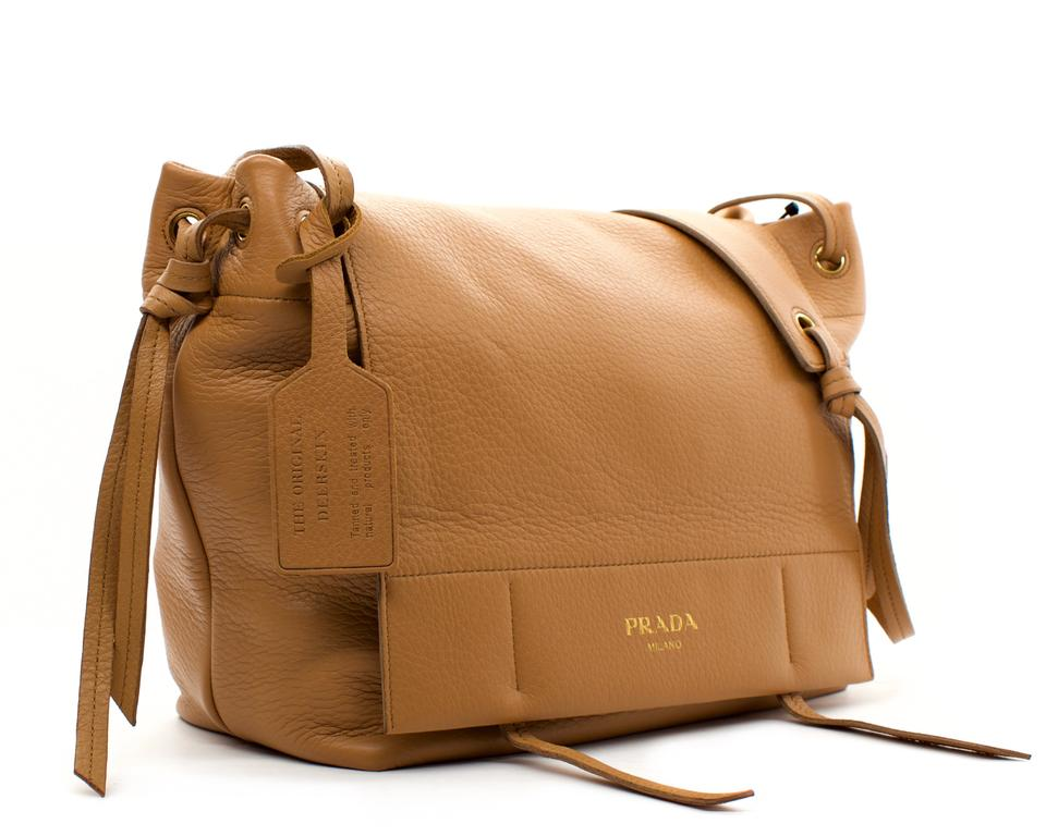 36e352fb4f Prada Pattina Naturale Deerskin Leather Shoulder Bag - Tradesy