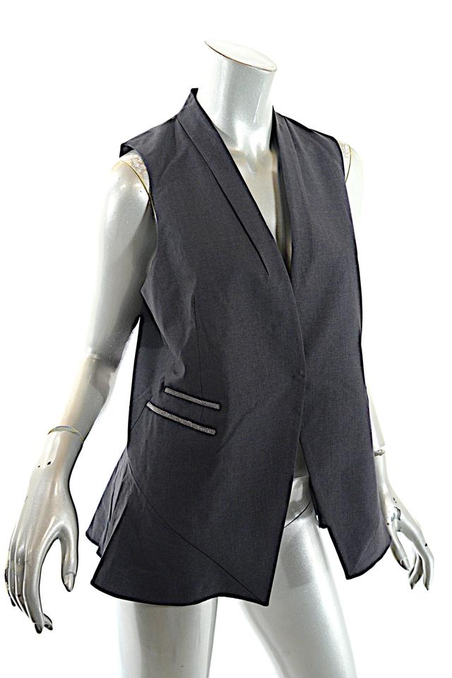 f288d31f1ff89 Brunello Cucinelli Grey Charcoal Wool Blend Rear Peplum Silver Chain ...