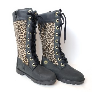 Timberland Snowboot Laceupboot Leopardboot Brown, black, beige, animal print Boots