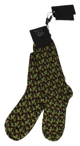 Dolce&Gabbana D69-3 Black Green Cotton Pattern Socks (XL)