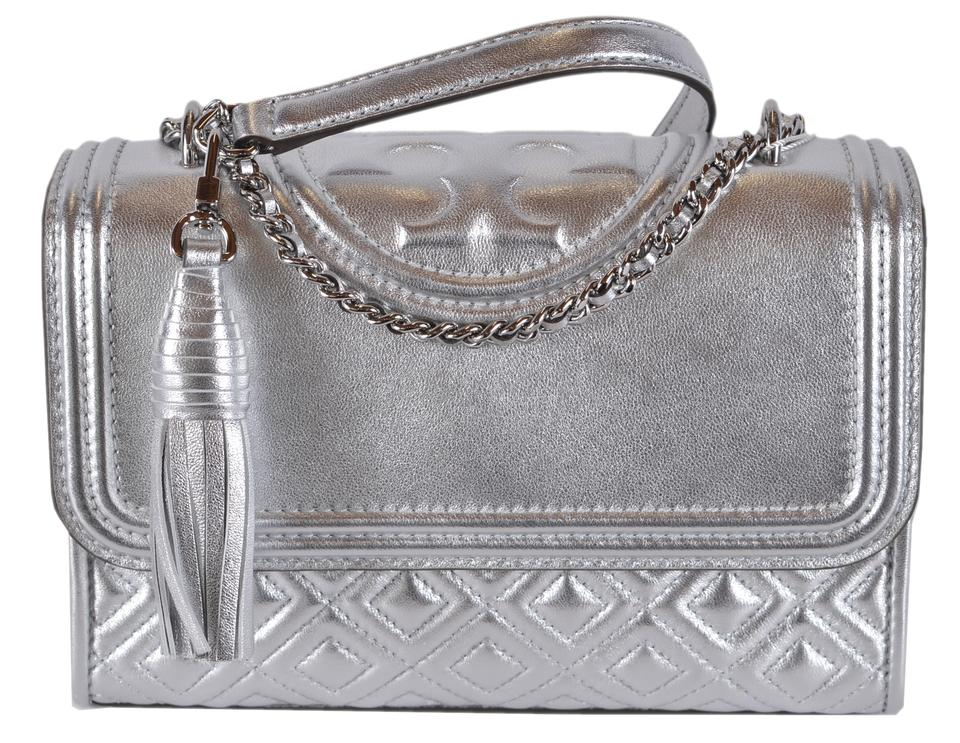 1982f7333098 Tory Burch Fleming New Quilted Small Purse Silver Leather Cross Body ...