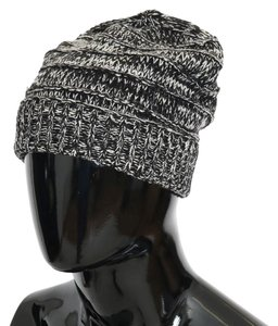 Dolce Gabbana Black   White D70002 Wool Winter Beanie (One Size) Hat ... 92e7a6ce76e