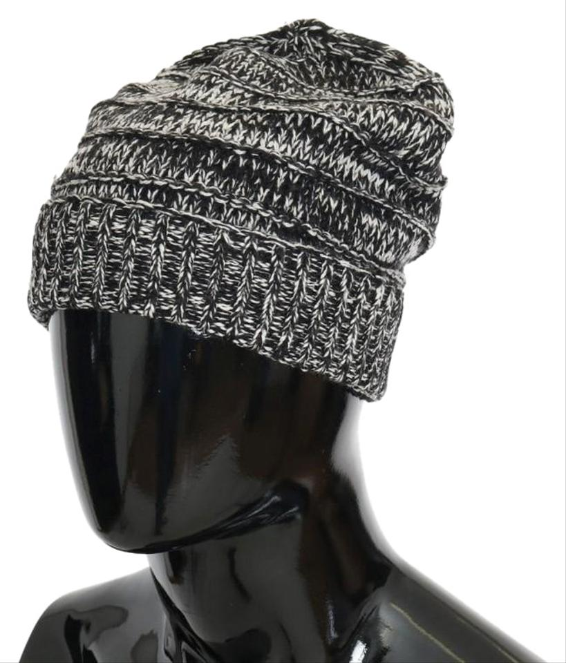 d8155eb3c34 Dolce Gabbana Black   White D70002 Wool Winter Beanie (One Size) Hat ...