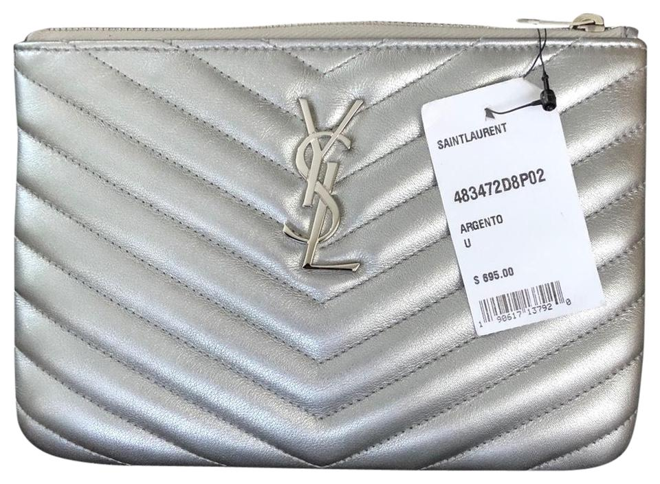 435b03b2 Saint Laurent Ysl Pouch Ysl Quilted Pouch Ysl Makeup Pouch silver Clutch  Image 0 ...