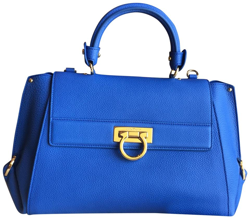01dc61a9ef Salvatore Ferragamo Sofia Medium Handbag Blue Leather Satchel - Tradesy
