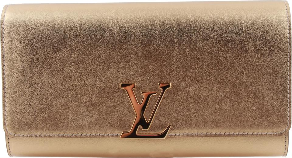 9f1f516839ee Louis Vuitton Louise Ew M51628 Evening Gold Leather Clutch - Tradesy