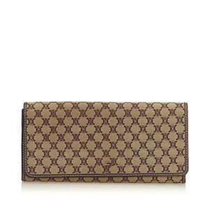Céline Celine Brown Jacquard Fabric Macadam Long Wallet France SMALL