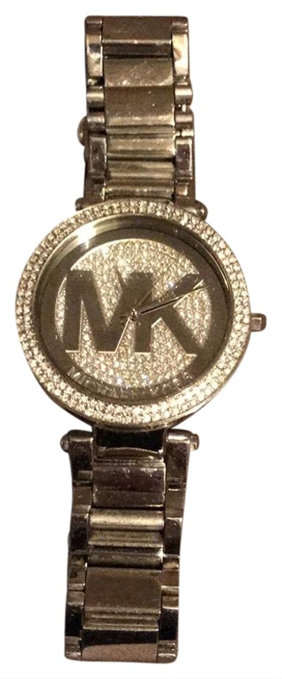 e79c0d50bbc7 Michael Kors Silver and Crystal Mk Logo Face Watch - Tradesy