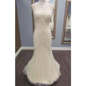Maggie Sottero Ivory/Gold Tulle Petra By Traditional Wedding Dress Size 12 (L)