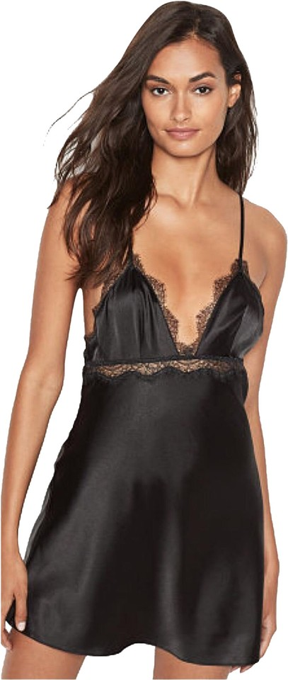 ababe77549 Victoria s Secret Black Vs Very Sexy Satin   Lace Slip Short Casual ...