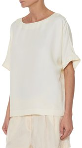 Tibi Cupro Kimono Sleeve Relaxed Fit Top Butter