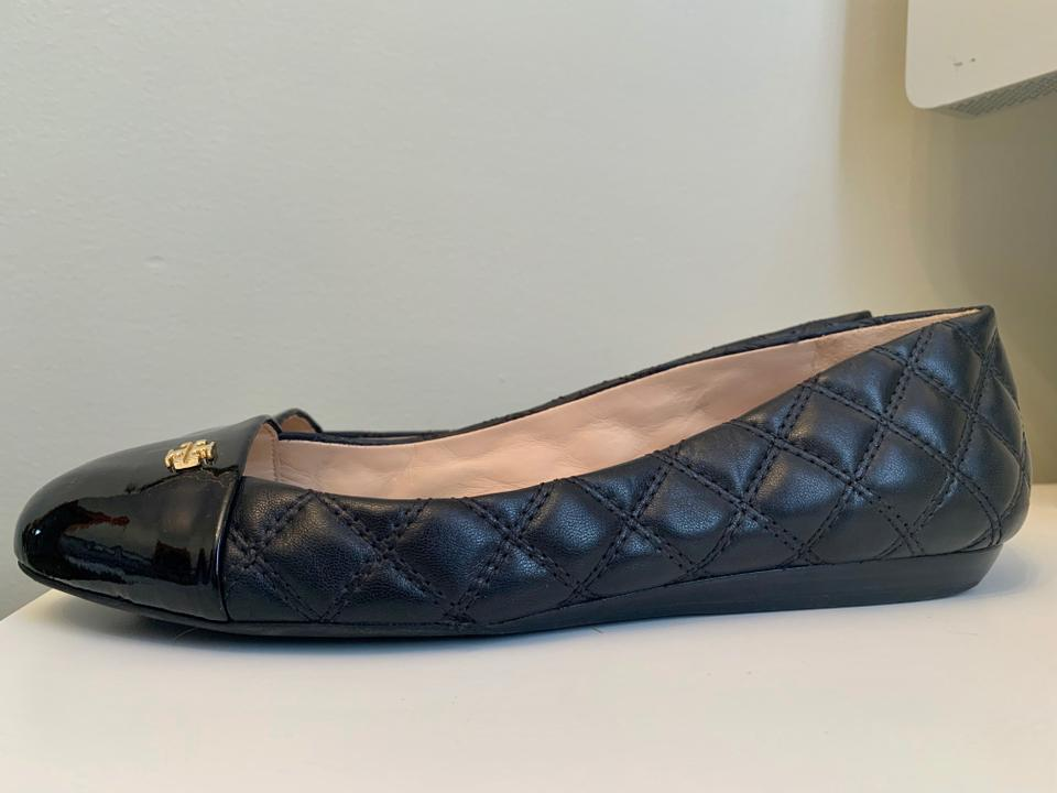 98a84c00aa39 Tory Burch Gold Logo Quilted Patent Leather Leather Ballet Black Flats  Image 7. 12345678