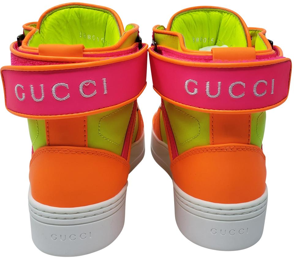 1755d6eaf7a Gucci Multicolor Neon Yellow Pink Leather Gg Logo Round-toe High-top Sneakers  Sneakers. Size  EU 37.5 (Approx. US 7.5) ...
