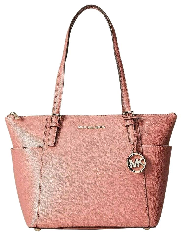 9827a9ce1faf Michael Kors Jet Set Large Crossgrain Rose/Gold Leather Tote - Tradesy