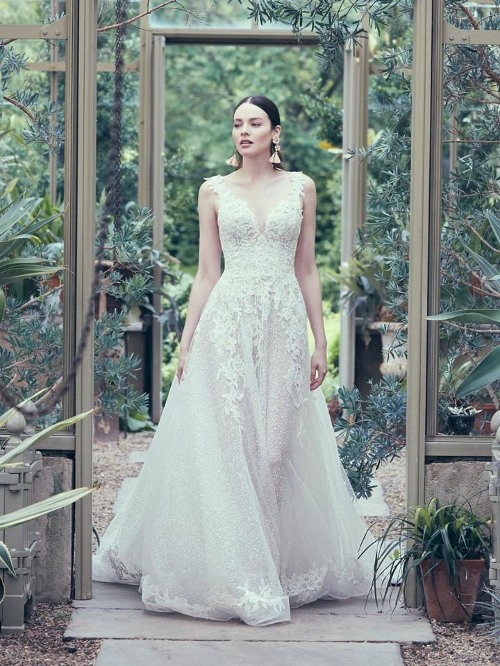 a9bf5263 Maggie Sottero Ivory Lace and Tulle Carmella Jane Modern Wedding Dress.  Street Size: 10 ...