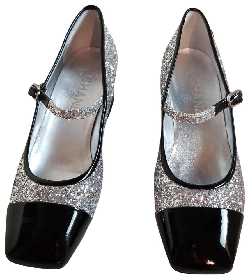 3f545dd392f1d Chanel Silver Black Glitter Milky Way Cc Coco Sling Strap Mary Jane Pumps