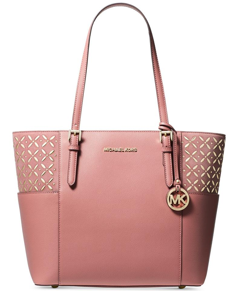cf912667ef97 Michael Kors Suede Jet Set Travel Rose/Gold Leather Tote - Tradesy