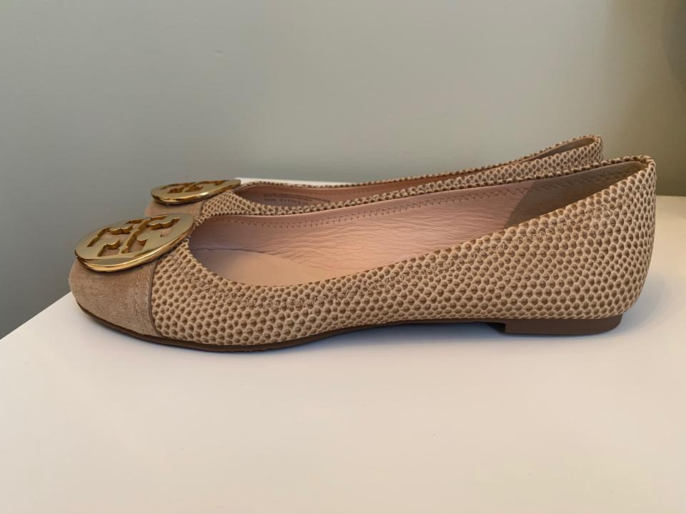 06199fd97 Tory Burch Gold Logo Embossed Leather Suede Tan Flats Image 9. 12345678910