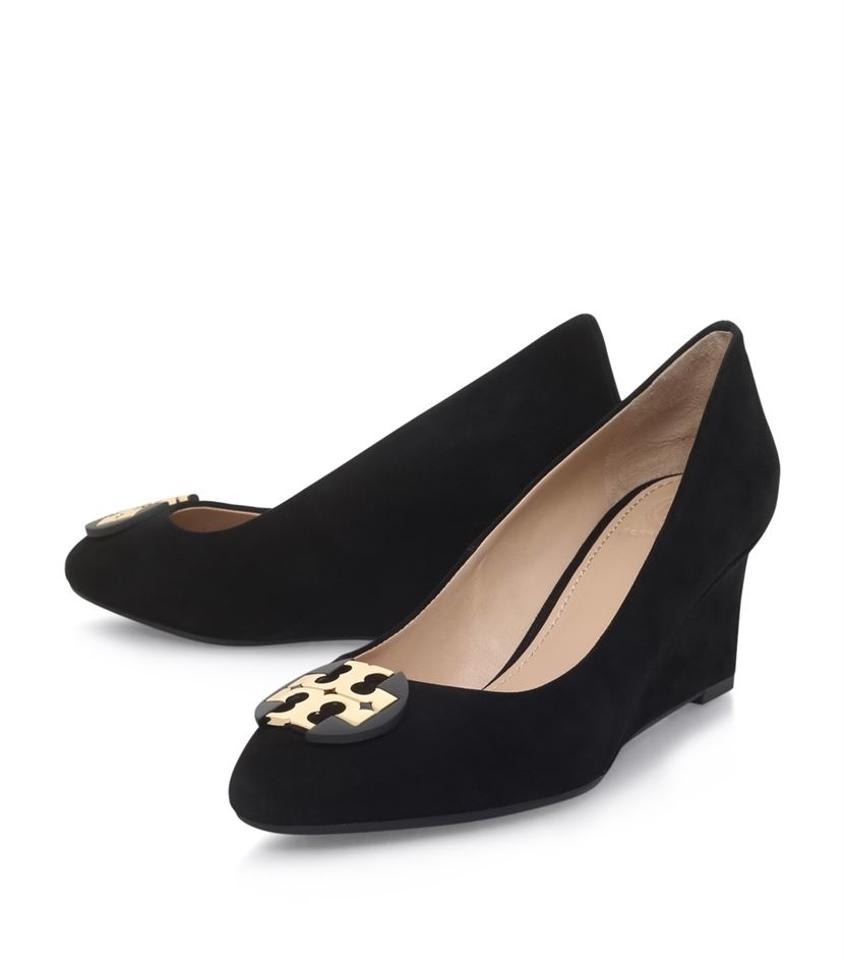 942eb2f9cb2a7f Tory Burch Black Suede Luna Round-toe Wedges Size US 10.5 Regular (M ...