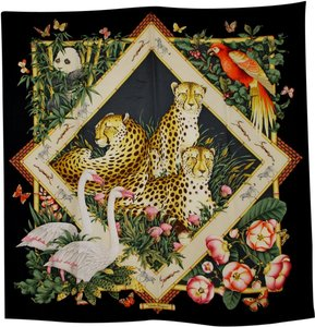 Salvatore Ferragamo Salvatore Ferragamo Cheetah Animal Safari Print Silk Scarf Beautiful