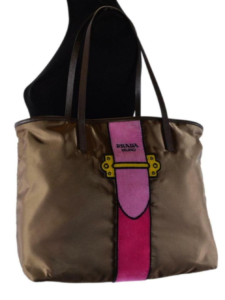 Prada Womens Tessuto Ricamo Tote Messenger 1bg065 Brown Nylon Shoulder Bag  - Tradesy a32711585fccd