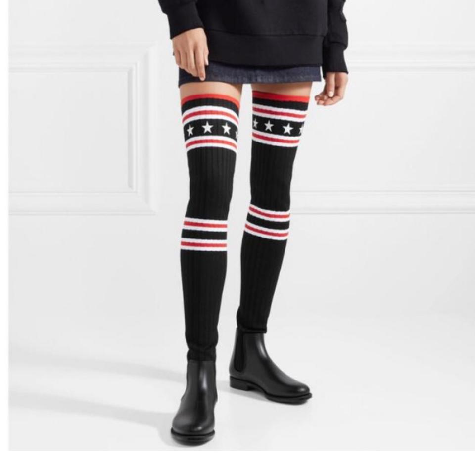 365545644c28 Givenchy Storm Ribbed Knit Over The Knee Sock Rubber Boots/Booties ...