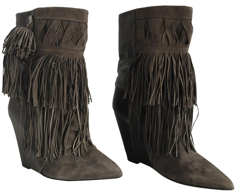 817765e46f6 Isabel Marant Silver Hardware Suede Fringe Pointed Toe Wedge taupe Boots  Image 0 ...