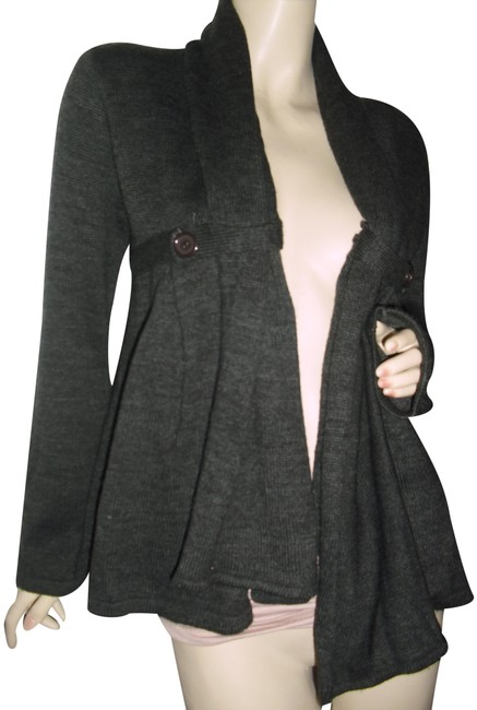 Item - Gray Large Buttons Assymetrical Uneven Hem Pleated Acrylic Cardigan Size 12 (L)