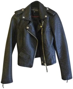 Blanc Noir Faux Leather Lined Motorcycle Jacket